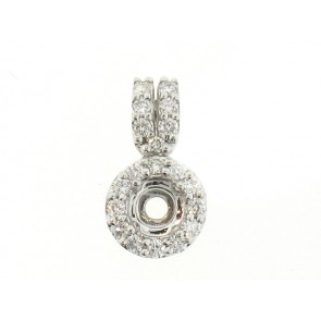 18K Round Shape Diamond Semi-Mount Pendant