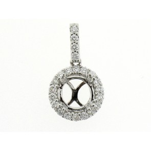 18K Diamond Round Shape Smi-Mount Pendant