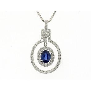 18K Oval Sapphire and Diamond Pendant