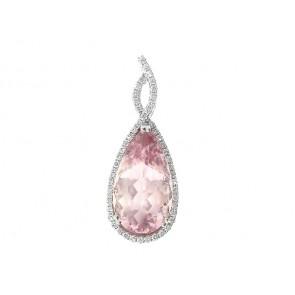 18K Morganite and Diamond Pendant