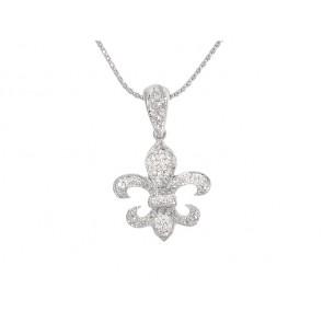 14K Diamond Fleur de Lis Pendant, 0.47ct