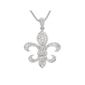14K Diamond Fleur de Lis Pendant, 1.35ct