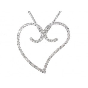 1/3CT Diamond Heart Twirl Pendant