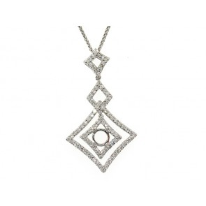 Modern Dangling Diamond Pendant Semi-Mount