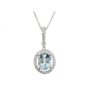 1.84ct Aquamarine and Diamond Pendant
