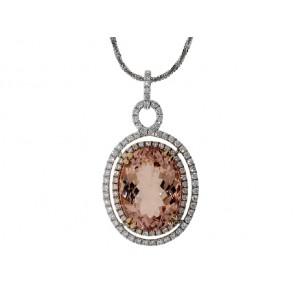 18K Oval Morganite and Diamond Pendant
