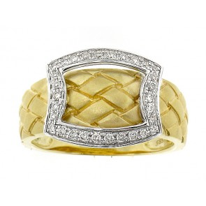 14K Woven Gold Motif Diamond Ring