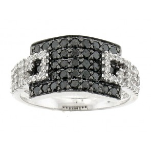 14K White and Black Diamond Ring