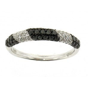14K Black and White Diamond Band