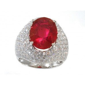 Oval Ruby and Diamond Pave Set Ring