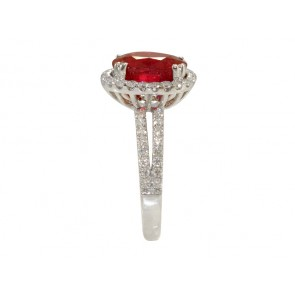 Oval Ruby and Diamond Halo Set Ring