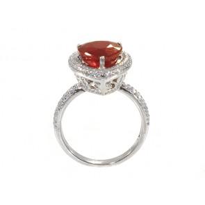 Pear Shape Ruby and Diamond Halo Set Ring