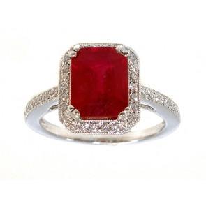 Halo Set Ruby and Diamond Ring