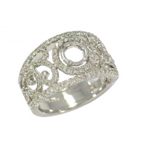 Halo Round Swirl Motif Diamond Band
