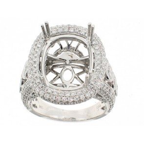 18K Oval Center Diamond Semi-Mount Ring