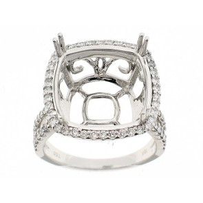 18K Basket Setting Semi-Mount Ring