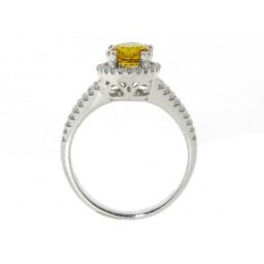 18K Diamond and Yellow Sapphire Ring